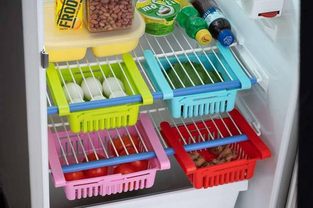 kk impex 4 Pcs Plastic Fridge Space Saver Organizer Storage Rack Tray Box Refrigerator Storage Organisers for Fruitsand Vegetables Plastic Storage Basket Plastic Fruit & Vegetable Basket
