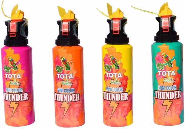 NYALENTERPRISE Mini Colour Thunder for Holi Celebration Holi Natural Gulal Blaster (Pack of 4) (Pink + Green + Yellow + Orange) Holi Color Powder Pack of 4