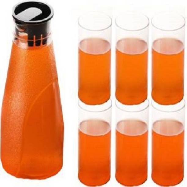 Ecodex unbreakable jug with set of 6 cold drink glass Jug Glass Tray Set