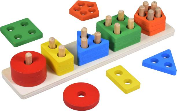 Wishkey Wooden Intellectual Geometric Shape Matching Five Column Blocks Educational & Learning Toys