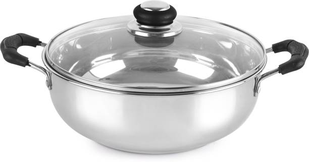 cello Induction Base Stainless Steel Kadhai 3 ltr Kadhai 34.5 cm diameter with Lid 3 L capacity