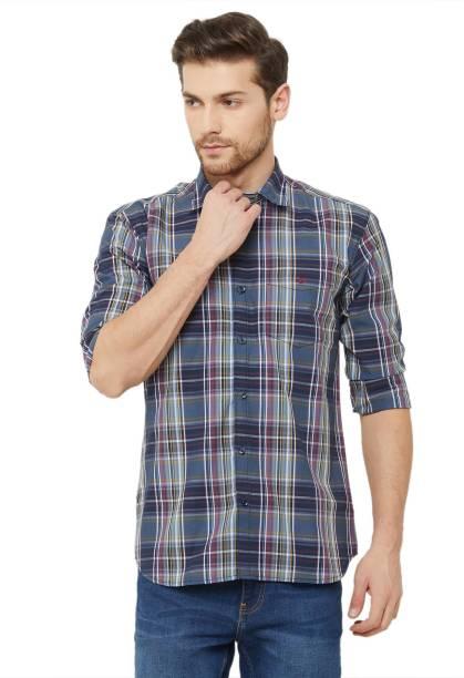 DONZELL Men Checkered Casual Brown Shirt