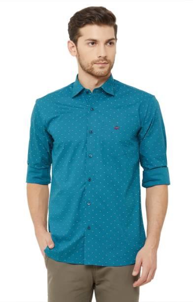 DONZELL Men Printed Casual Blue Shirt