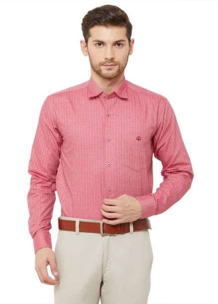 DONZELL Men Printed Formal Pink Shirt