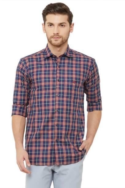 DONZELL Men Checkered Casual Blue Shirt