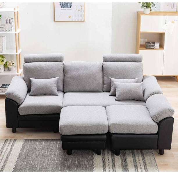 CasaStyle Amerigo 5 Seater Interchangable L Shape Sofa (Light Grey-Black) Fabric 5 Seater  Sofa