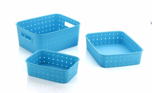 Set of 3 Colourful Round Plastic Handy Fruit Vegetable Storage Basket