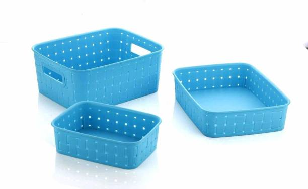 Bluewhale New Fruit & Vegetables Kitchen Basket Set Of 3 (Blue) Plastic Fruit & Vegetable Basket