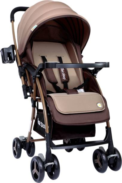 1st Step Caramel Baby Stroller With 5 Point Safety Harness And Reversible Handlebar Stroller