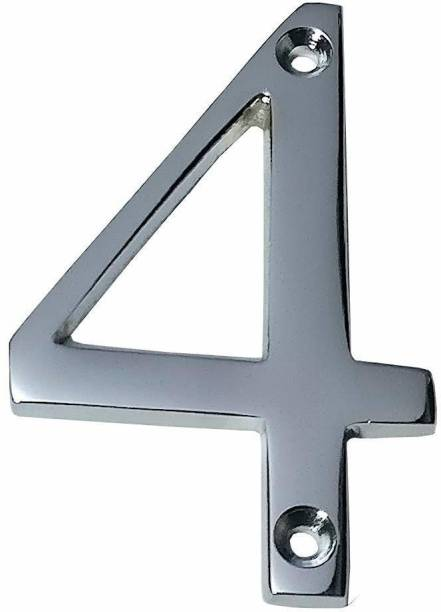 """Wigano 4""""Inch Brass Chrome Finish Stylish House Door Numbers (Number 4) Sign"""