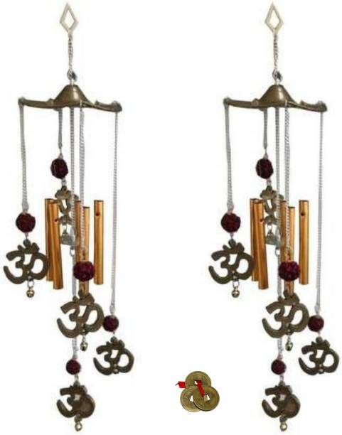 shanol B Om Rudraksha 5 Pipes Beautiful Wind Chime Great Sound Wall Hanging For Home / Office Brass Windchime(20 inch, Multicolor) Vastu wind chime for home decoration. Plastic Windchime
