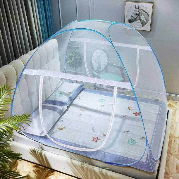 GlowSilk Polyester Kids Polyester Adults Polyester Adults Net Foldable King Size (Double Bed) with Free Saviours - (Blue) Mosquito Net (Blue) Mosquito Net (Blue) Home Mosquito Net