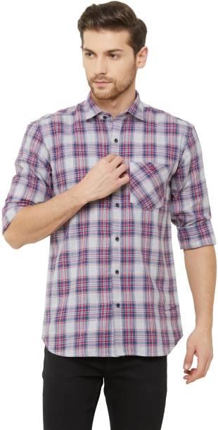 DONZELL Men Checkered Casual Grey Shirt