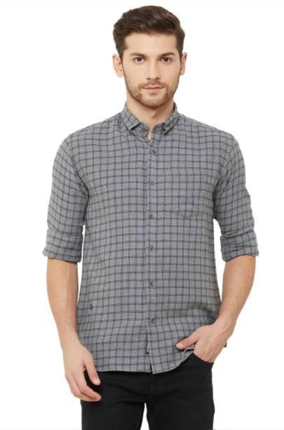 DONZELL Men Checkered Casual Green Shirt