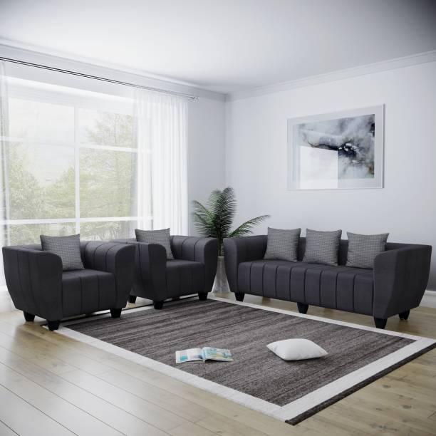 Bharat Lifestyle Elegant Fabric 3 + 1 + 1 Dark Grey Sofa Set