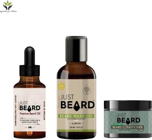 Enorgen JUSTBEARD Traditional Ayurveda Premium Beard Care Starter Kit for Men |Beard Growth Oil, Beard Wash Gel ,Beard Conditioner-100% Natural ,Paraben & SLS Free