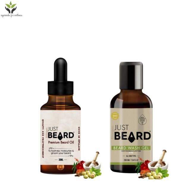 Enorgen JUSTBEARD Natural Premium Beard Oil & Beard Wash Combo Kit |100 % Natural Beard Care Combination Pack