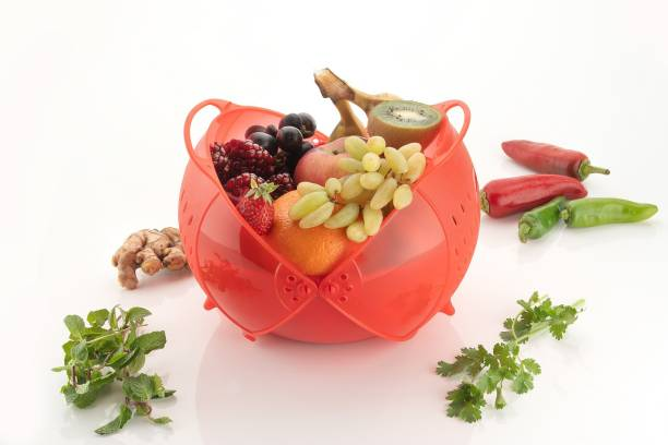 Bluewhale New Plastic Fruit & Vegetable Basket With Colander Plastic Fruit & Vegetable Basket