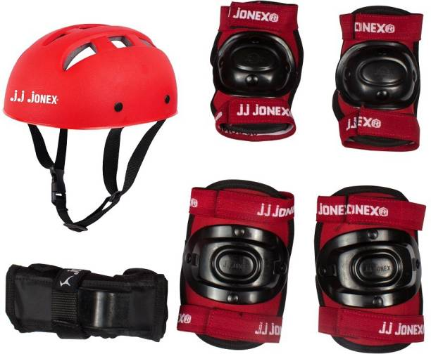 JJ Jonex Skating Protection kit with 1 PVC Helmet, 1 Pair Of Knee Cap, 1 Pair Of Elbow Cap, 1 Pair of Pam Protection Skating Kit