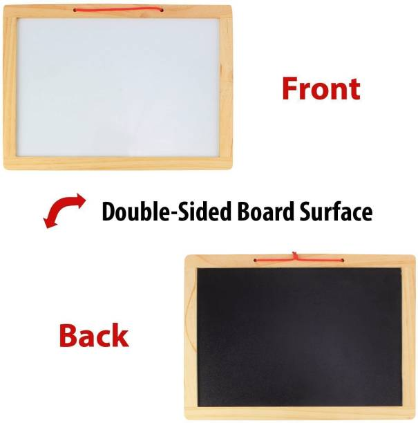 CrazyCrafts Wooden Educational Two in One Slate with White and Black Board for Kids including Eraser marker pen