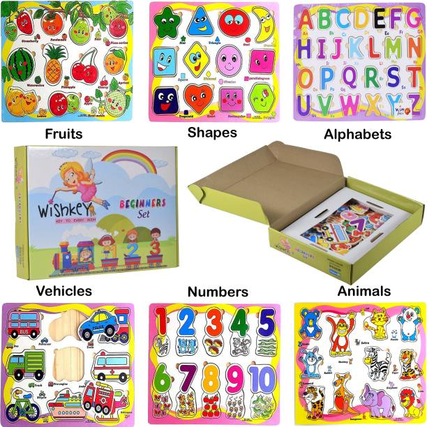 Wishkey Wooden Educational Colorful Fruits,Numbers,Geometric Shapes,Animals,Vehicles,Alphabet Set of 6 Puzzle board