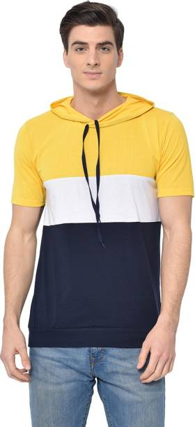 3SIX5 Solid Men Hooded Neck Yellow T-Shirt