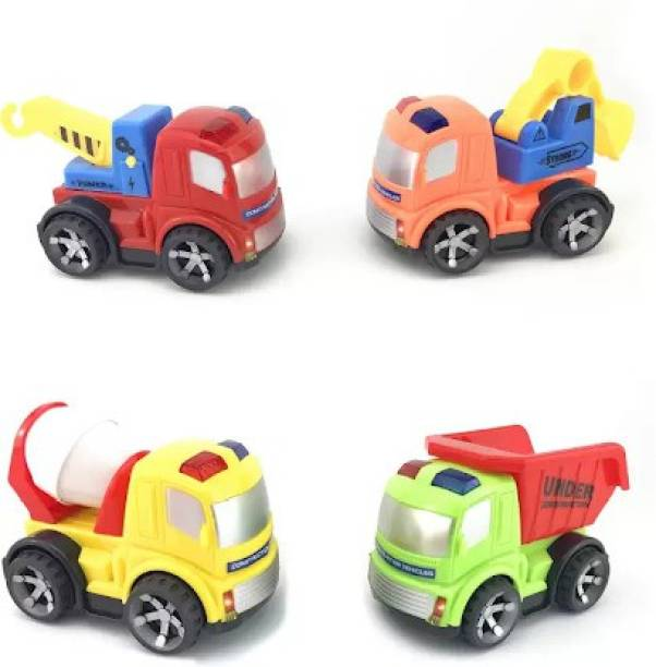 Miss & Chief Unbreakable Construction Set Of 4 Friction Trucks For Kids - Gift Pack