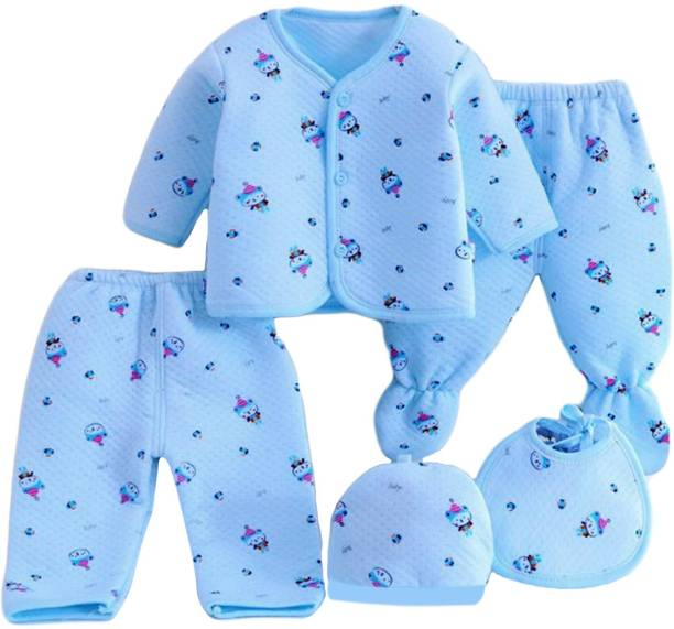 PIKIPOO Presents New Born Baby Winter Wear Keep warm Cartoon Printing Baby Clothes 5Pcs Sets Cotton Baby Boys Girls Unisex Baby Fleece / Falalen Suit Infant Clothes First Gift For New Baby.Blue