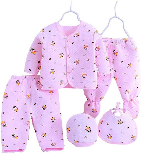 PIKIPOO Presents New Born Baby Winter Wear Keep warm Cartoon Printing Baby Clothes 5Pcs Sets Cotton Baby Boys Girls Unisex Baby Fleece / Falalen Suit Infant Clothes First Gift For New Baby.Pink