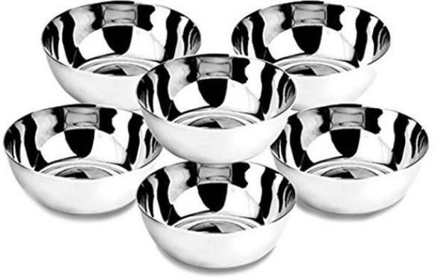 Urvi Creations Urvi Creations Steel Bowl 6 Pcs Set - Medium 200 ml Stainless Steel Veg Bowl Vati Katori Serving Dish Steel Vegetable Bowl