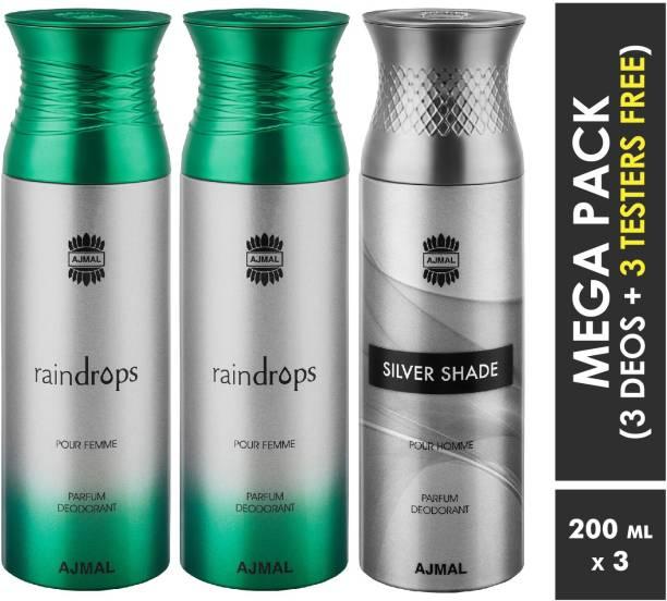 AJMAL Raindrops & Raindrops & Silver Shade Deodorant Spray + 3 Testers Deodorant Spray  -  For Men & Women