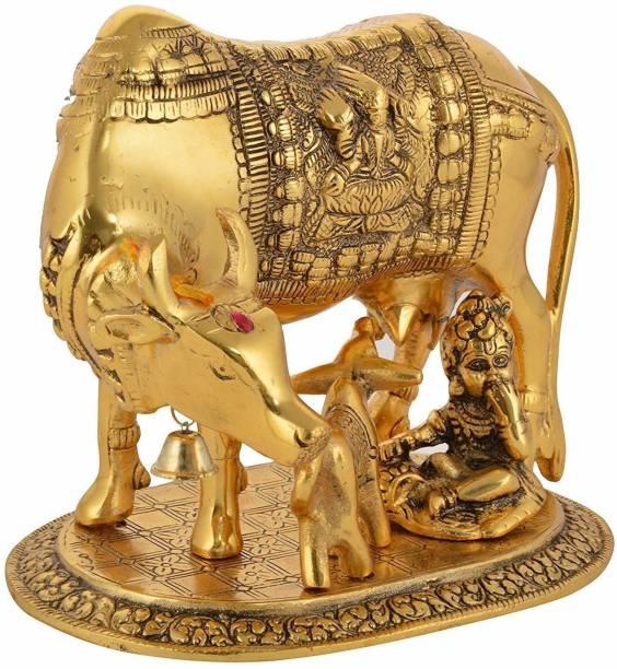 Pinkcity Forever Brass Murti Kamdhenu Cow & Calf | Nandi Cow Decorative Showpiece  -  16 cm