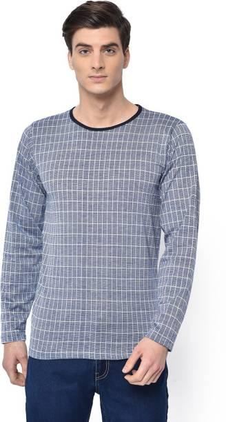 3SIX5 Checkered Men Round Neck Blue T-Shirt