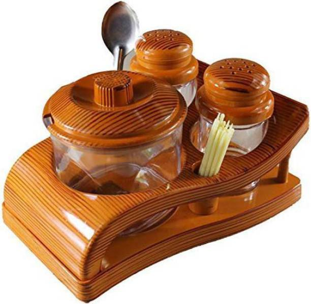 Shieldsmore All in One Pickle Set with Spice Shaker Holder Condiment Dining Set of 3 (Brown) 1 Piece Salt & Pepper Set