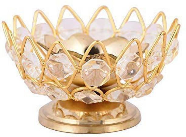 Heaven Decor Brass Bowl Crystal Diya Round Shape Kamal Deep Akhand Jyoti Oil Lamp for Puja and Home Dcor (Small) Brass, Crystal Table Diya