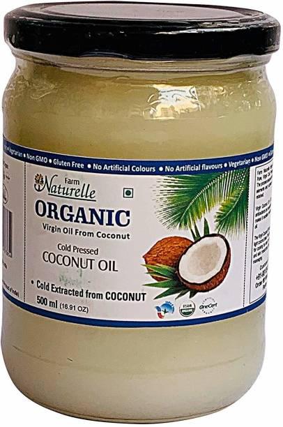 Farm Naturelle 100 % Pure Organic Virgin Cold Pressed Coconut Cooking Oil -500 ml (Glass Bottles ) Coconut Oil Glass Bottle