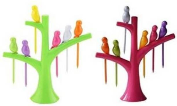 KITCHEN INDIA Set of 2-Pcs Plastic Bird Fork Set with Tree Shape Holder Rack Disposable Plastic Fruit Fork, Salad Fork Set