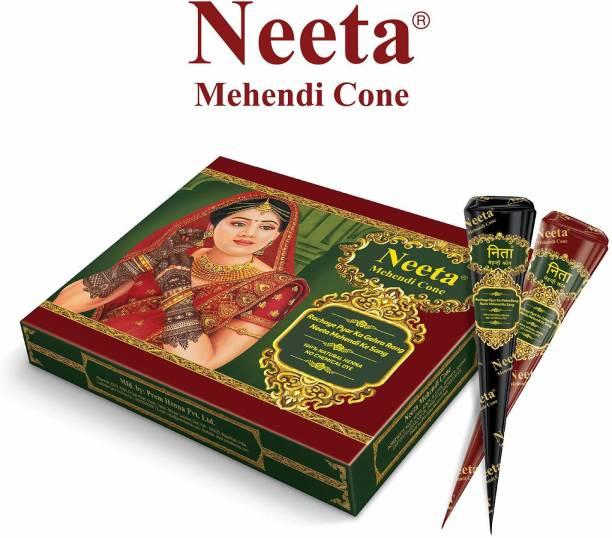 Neeta Mehendi Cone Henna Temparrory Tettoo (Pack of 12 Pcs)