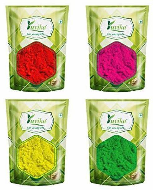 yuvika Yuvika Herbs Holi Colour Combo Pack of 4 - Red, Yellow, Pink, Green (400 Gms) (4 pack of 100 Gms) Holi Color Powder Pack of 4