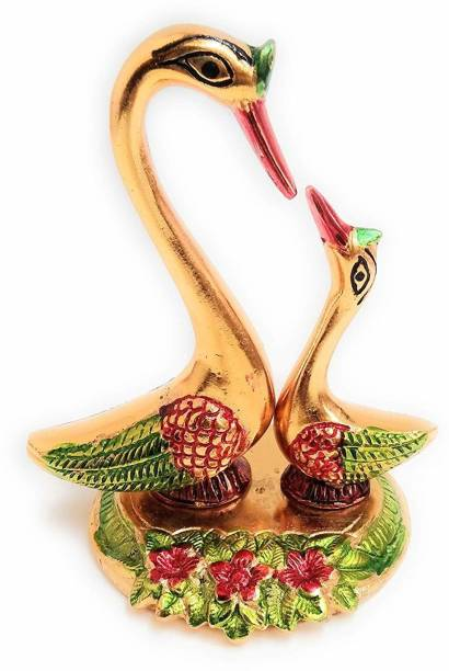 KridayKraft Metal Love Birds Swanset Pair of Kissing Duck Showpiece,Kissing Duck love birds saras set showpiece meenakari,Decor for Home,Office,Table Decor,Showcase Decor & Gift Idol... Decorative Showpiece  -  14 cm