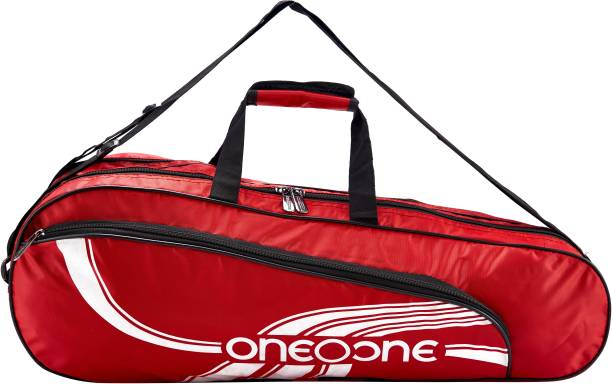 One O One Lines Lite Collection Double Compartment Red & White Badminton / Tennis Kit Bag