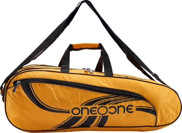One O One Lines Lite Collection Double Compartment Yellow & Black Badminton / Tennis Kit Bag