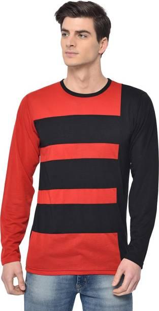 3SIX5 Color Block Men Round Neck Red, Black T-Shirt