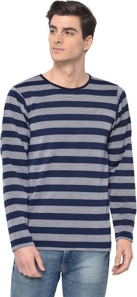 3SIX5 Striped Men Round Neck Multicolor T-Shirt
