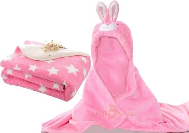 My New Born Cartoon, Polka Crib Hooded Baby Blanket