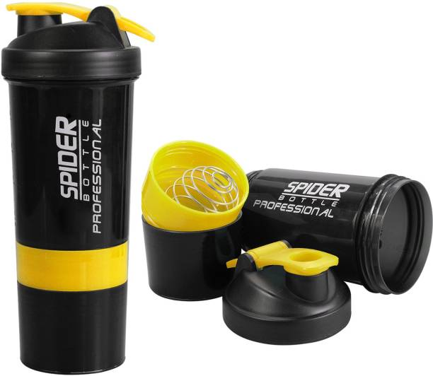 Ketsaal Protein Shaker Bottle 500ml with 2 Storage Compartment for Gym 500 ml Shaker