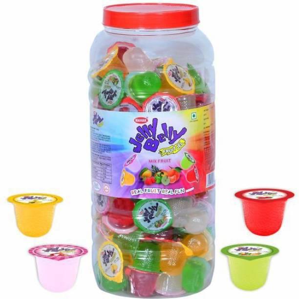 Mahak Fruit Jelly Belly Cup | Mix Fruit Jar | Pack of 110 Jelly Mango, Lychee, Orange, Mix fruit Jelly Beans