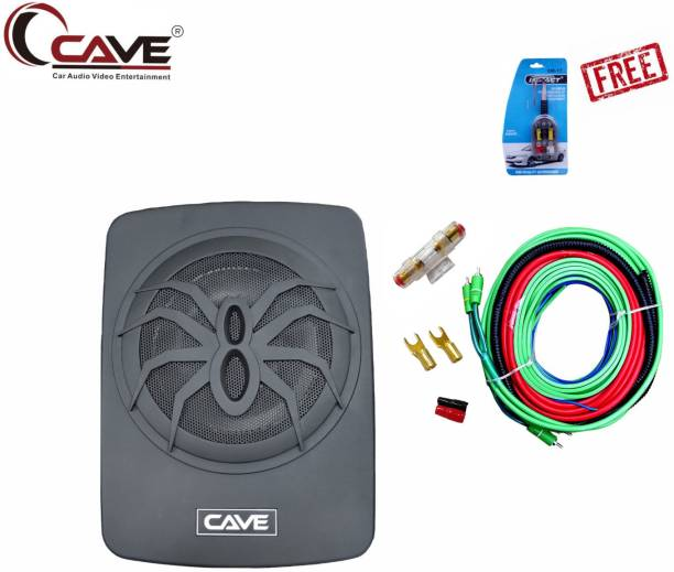 Cave RJ-491 180-Watts RMS Underseat 10-inch Active Aluminium Car Subwoofer with Inbuilt Amplifier and Bass Contoller With Audio Kit 8 Gauge Car Amplifier Installation Wiring Kit And Free High-Low Convertor Subwoofer