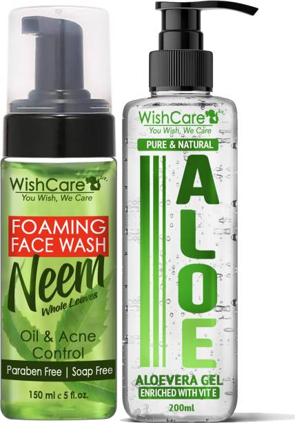 WishCare Foaming Neem Face Wash with Neem Whole Leaves - Paraben and Soap Free (150 ml) & Natural Aloe Vera Gel - Enriched With Vitamin E (200 ml)
