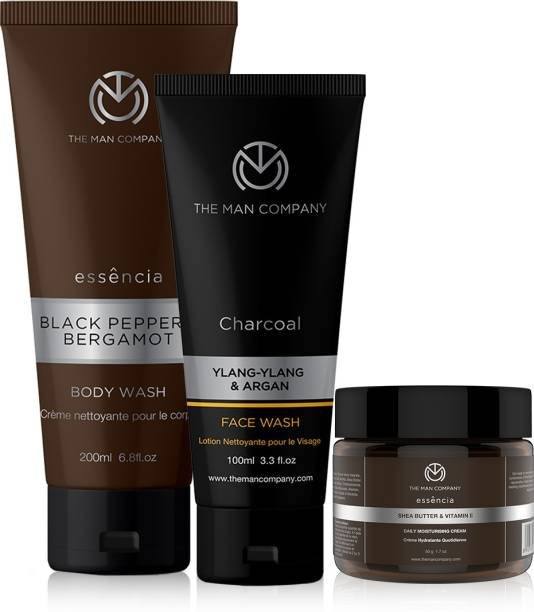 THE MAN COMPANY Holi Cleanse & Moisturise Kit (Black Pepper Body Wash+ Mositurising Cream + Charcoal face wash (Tube))